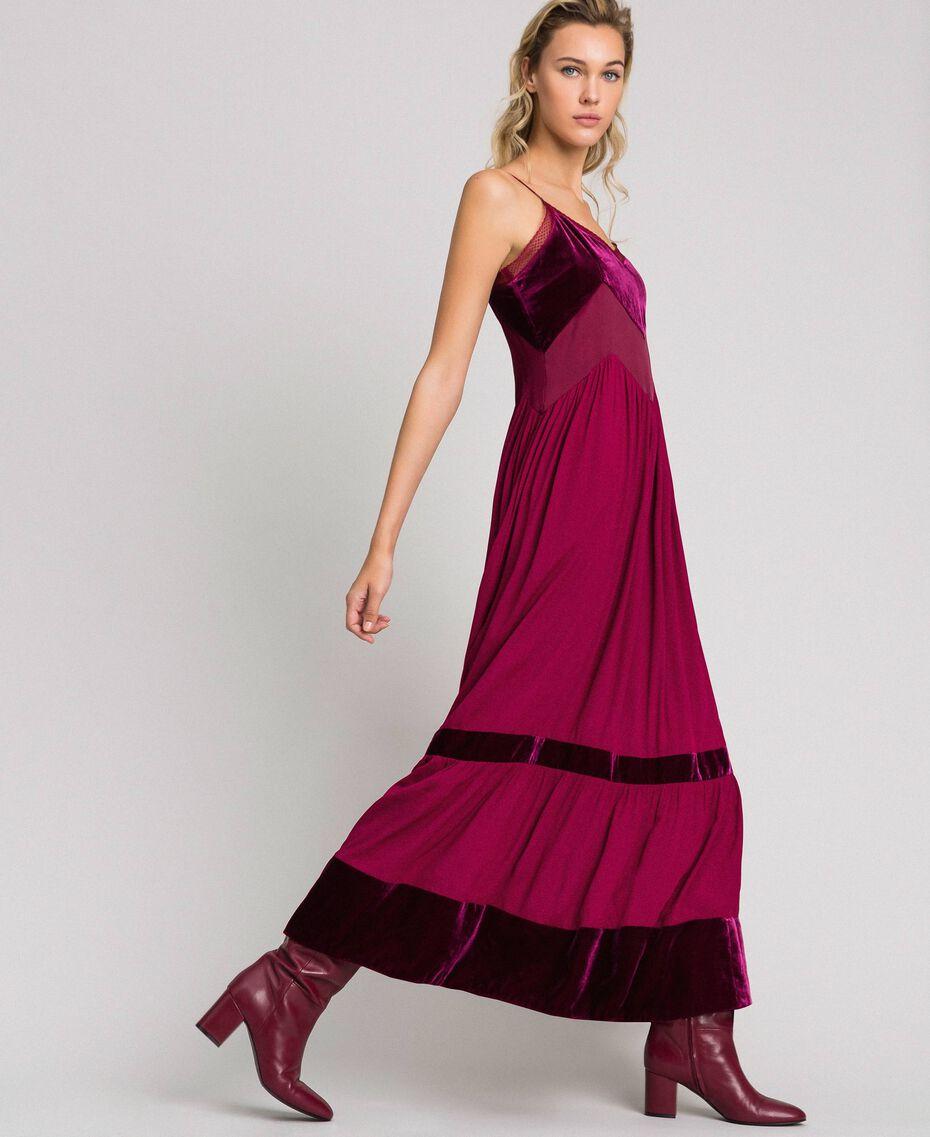 Robe nuisette avec détails en velours Rouge Velours Femme 192TT2280-02