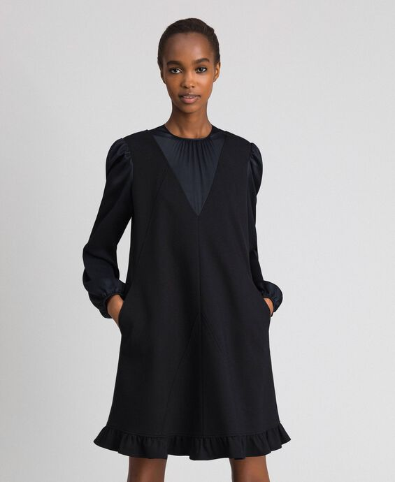 Dress with satin inlays and frill
