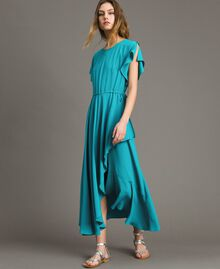 Silk blend long dress Tile Blue Woman 191TT2079-01