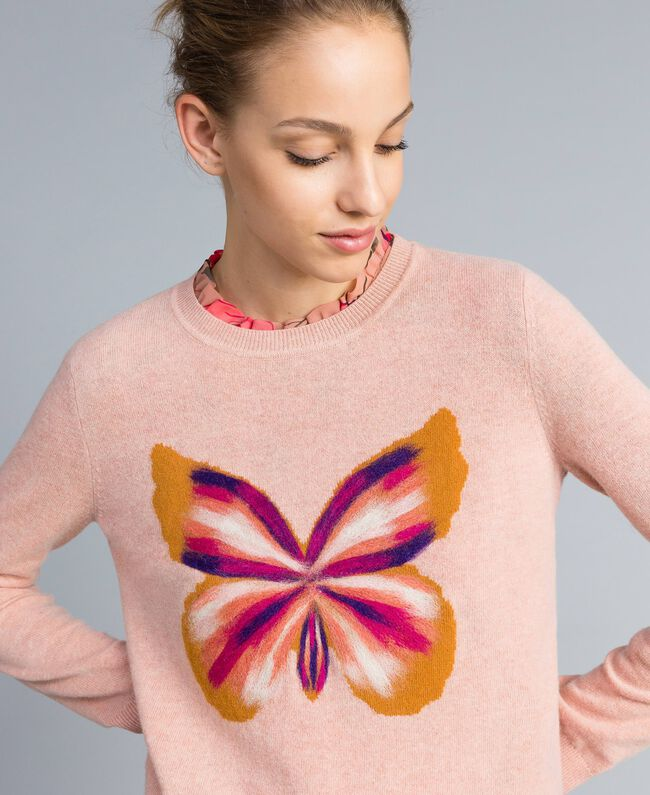 """Wool blend embroidered jumper """"Pale Pink"""" Butterfly Needle Punch Embroidery Woman TA83JD-04"""