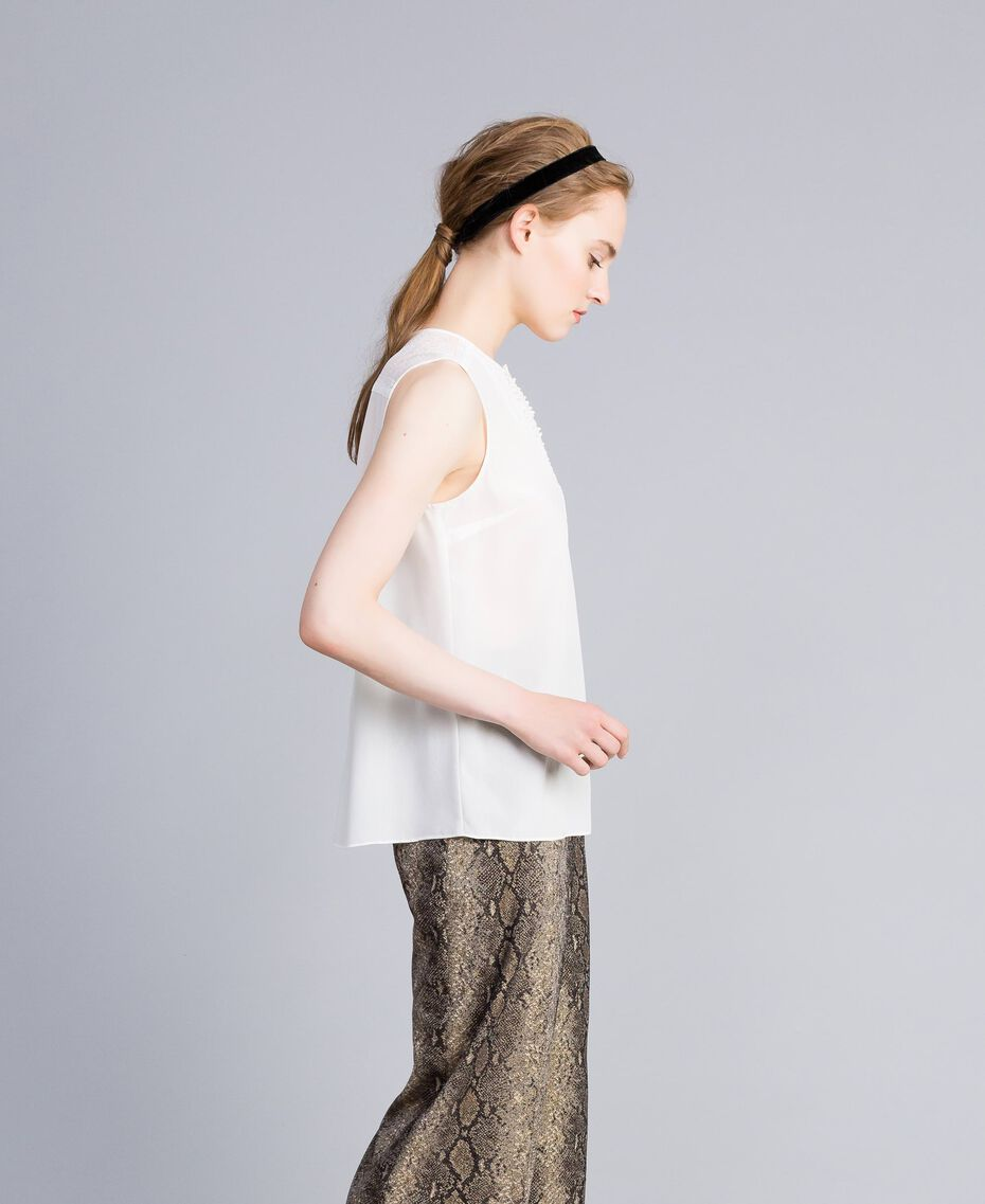 Silk top with micro ruches White Snow Woman PA82EE-02