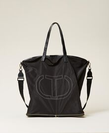 Foldable shopper with logo Black Woman 212TB7190-01