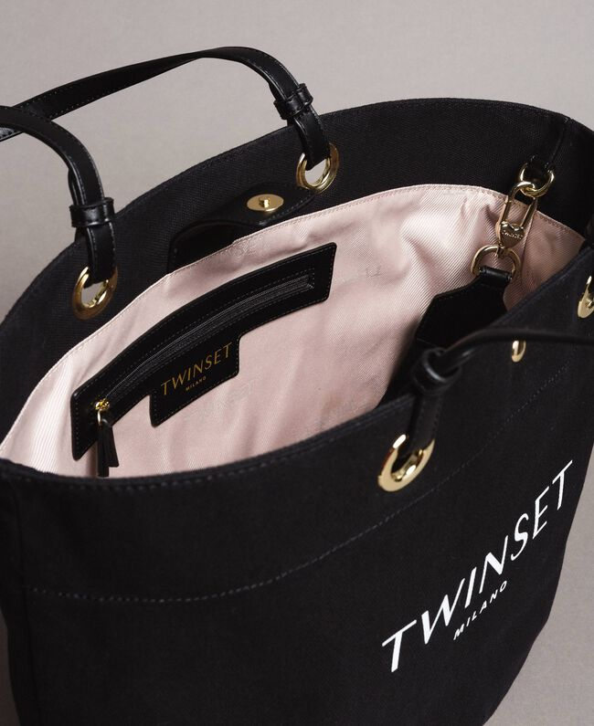 Large canvas shopping bag with logo Black Woman 191TO8202-04