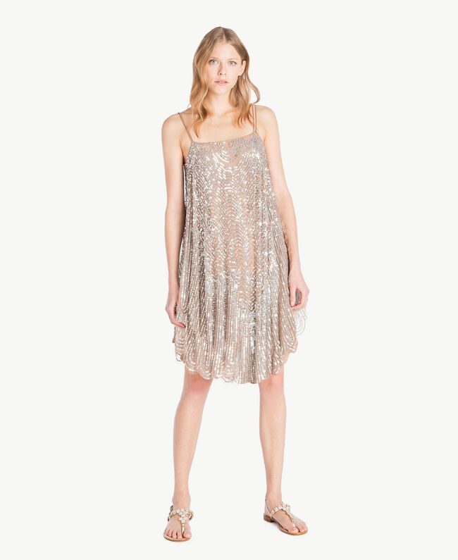 All over sequin dress Dark Silver Woman TS82EA-04