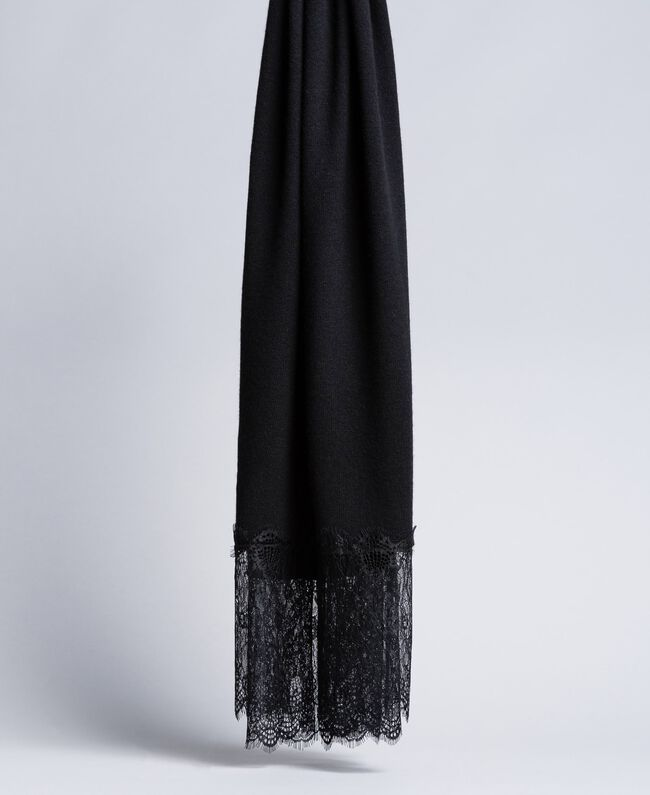 Cashmere and lace scarf Black Woman OA8T1H-01