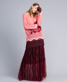 Gonna lunga in pizzo Valencienne Bordeaux Donna PA82FZ-02