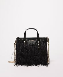 Shoulder bag with feathers and rhinestones Black Woman 201TA7192-04
