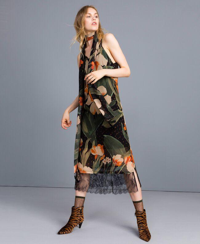 """Kleid im Unterkleidstil aus bedrucktem Georgette Print """"Schwarze Maxitulpe"""" Frau TA828U-01"""