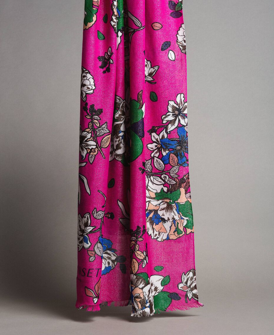 Шарф из вискозы и люрекса с цветочным принтом Анемоново-Розовый Принт женщина 191TA4368-02
