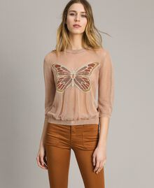 "Lurex jumper with butterfly detail ""Rose Sand"" Pink Lurex Woman 191TT3101-03"