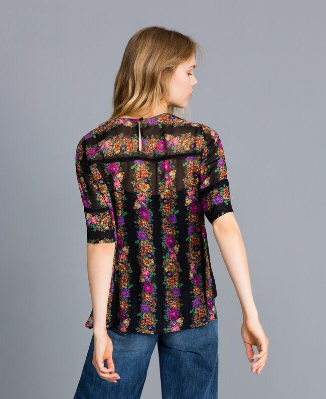 """Bluse aus Georgette mit Blumenprint Streifenmuster Print """"Blumen"""" Frau TA82X4-03"""