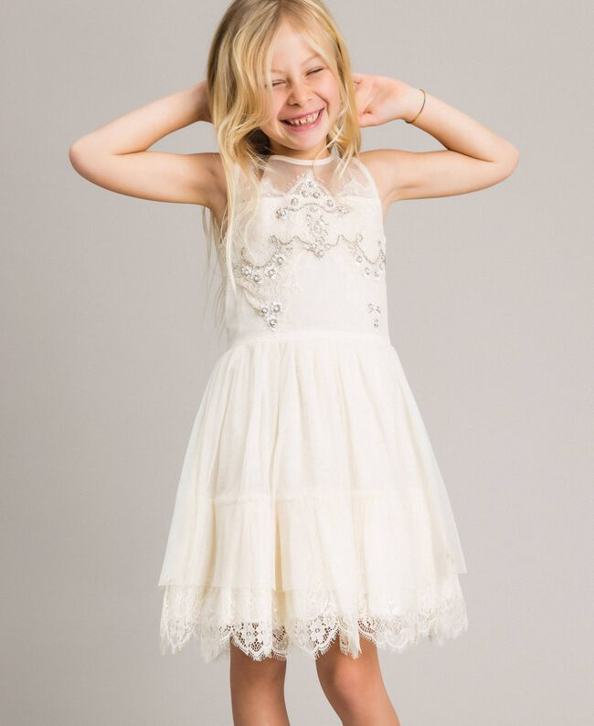 online store bd83d 2b5f4 Abito in tulle e pizzo con ricami Bambina, Beige | TWINSET ...