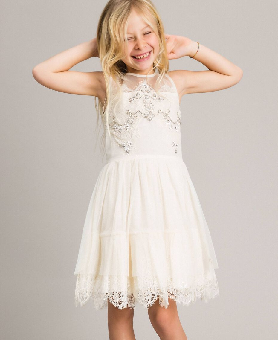 Embroidered tulle and lace dress Pale Cream Child 191GJ2QC0-02