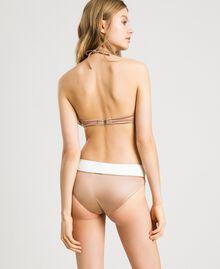 """Glänzende Bikinihose mit Kontrastbund Zweifarbig Elefnbeinfarben / """"Petra Sandstone"""" Braun Frau 191LMMHXX-03"""