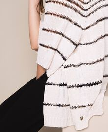 Maxi cardigan avec rayures contrastées Rayé Blanc Antique / Noir Femme 201TT3130-04