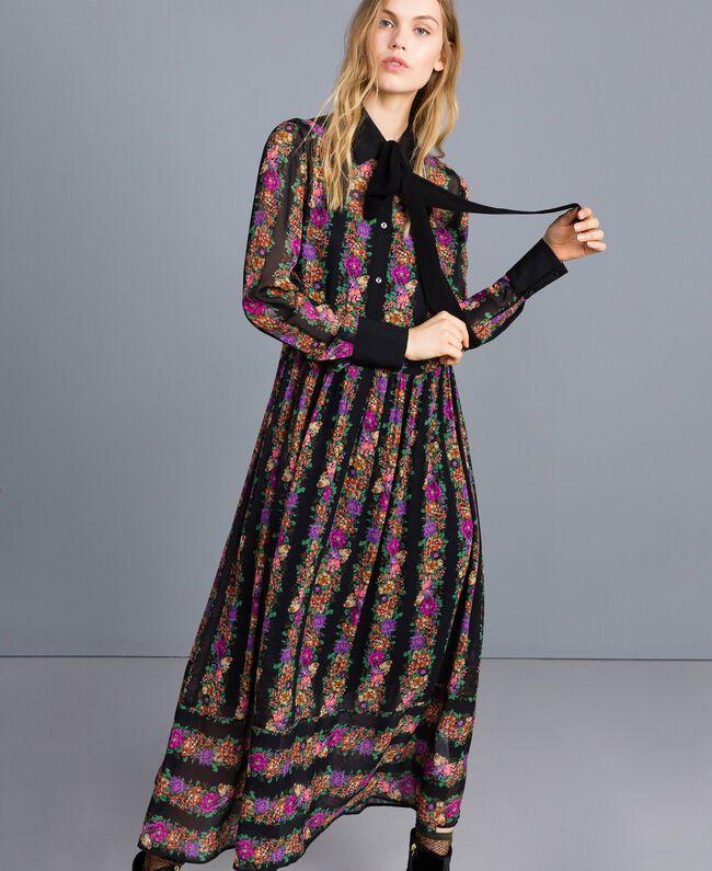 ee303433a12d Floral print long georgette dress Flower and Black Stripe Print Woman  TA82X3-01