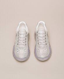 Chaussures de running en cuir velours et strass Blanc Femme 201MCT042-05