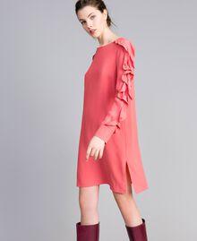 Kurzes Kleid aus Seidenmischung mit Volant Royal Pink Rosa Frau PA828A-01