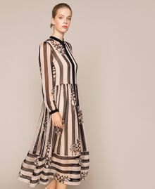 Long creponne dress with stripe and flower print Floral Print over Snow/ Black Stripes Woman 201TP2300-02