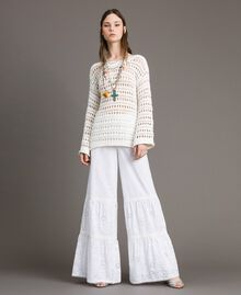 Broderie anglaise trousers with drawstring White Woman 191MT2034-0T