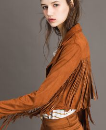 Faux leather biker jacket with fringes Leather Brown Woman 191LB2DBB-03