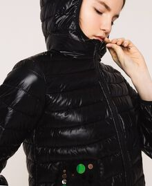 Ultralight puffer jacket with sequins Black Woman 201ST2120-05