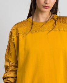 Satin maxi sweatshirt with lace and fringes Saffron Yellow Woman 192MP2271-05