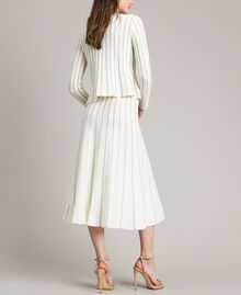 Mid-length skirt with lurex stripes White Snow Woman 191TP3253-03