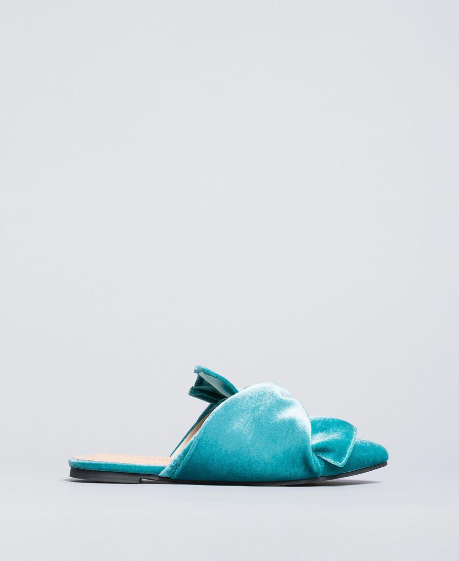 "Mules de terciopelo Azul ""Blue Melancholia"" Mujer LA8JFF-02"