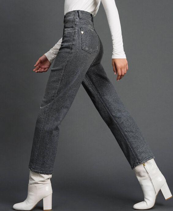 Boyfriend jeans with glitter micro polka dots
