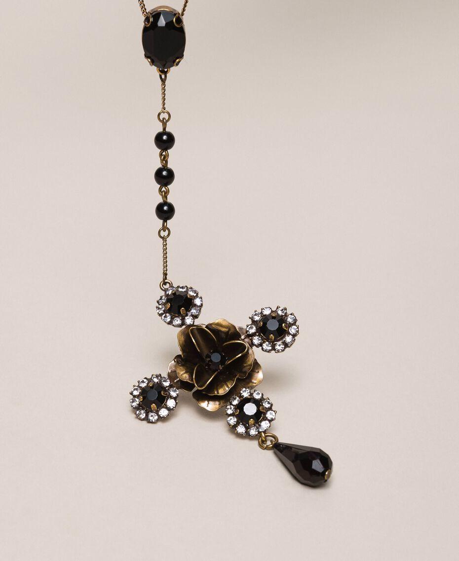 Sautoir avec croix et pendentif Noir Femme 201TA4309-02