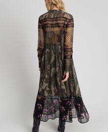 Long dress with camouflage and floral print Camouflage Flower Patch Print Woman 192TT2120-03