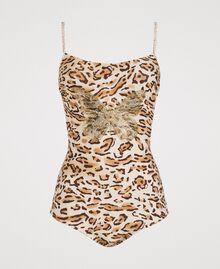 "Leopard print one-piece underwired swimsuit ""Petra Sandstone"" Brown Animal Print Woman 191LMMUXX-01"