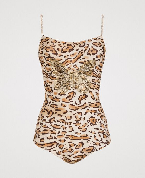 Leopard print one-piece underwired swimsuit