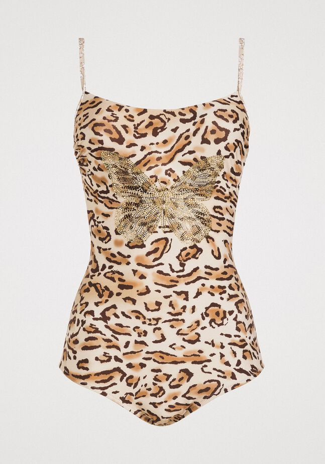 Leopard print one-piece underwired swimsuit