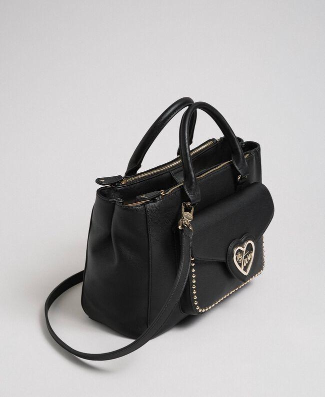 Sac cabas en similicuir bicolore Noir Femme 192MA7100-01