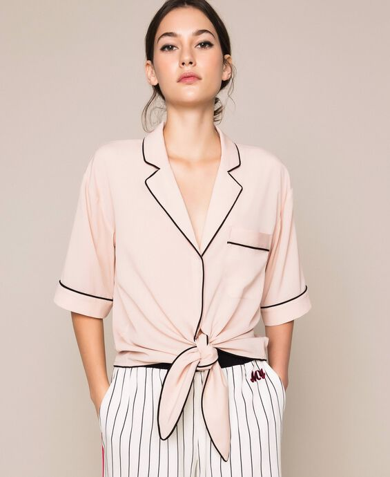 Crêpe de Chine cropped shirt