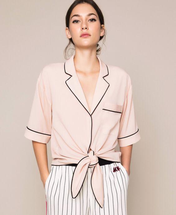 Camicia cropped in crêpe de Chine
