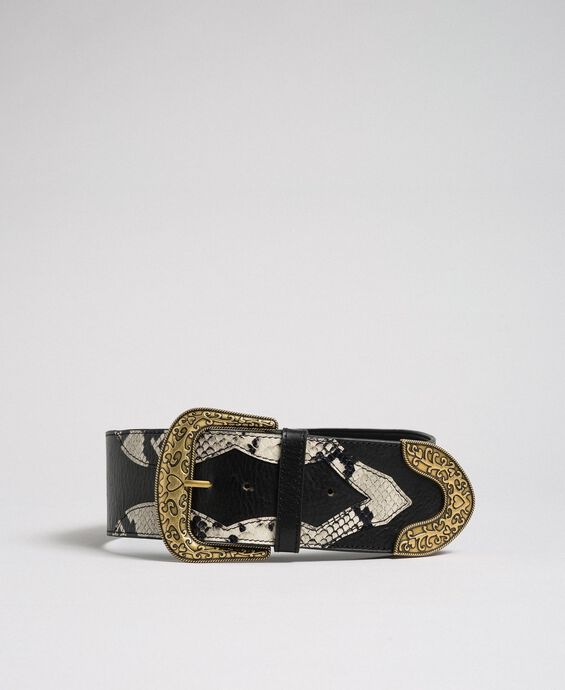 Leather belt with decorative buckle