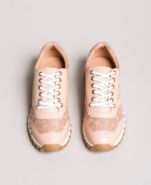 Lace and suede sneakers Pink Pearl Woman 191TCP026-05