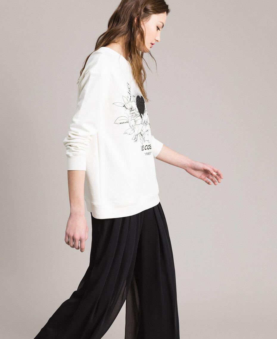 Maxi-Sweatshirt mit Aufdruck und Strasssteinen Mattweiß Frau 191ST2186-02