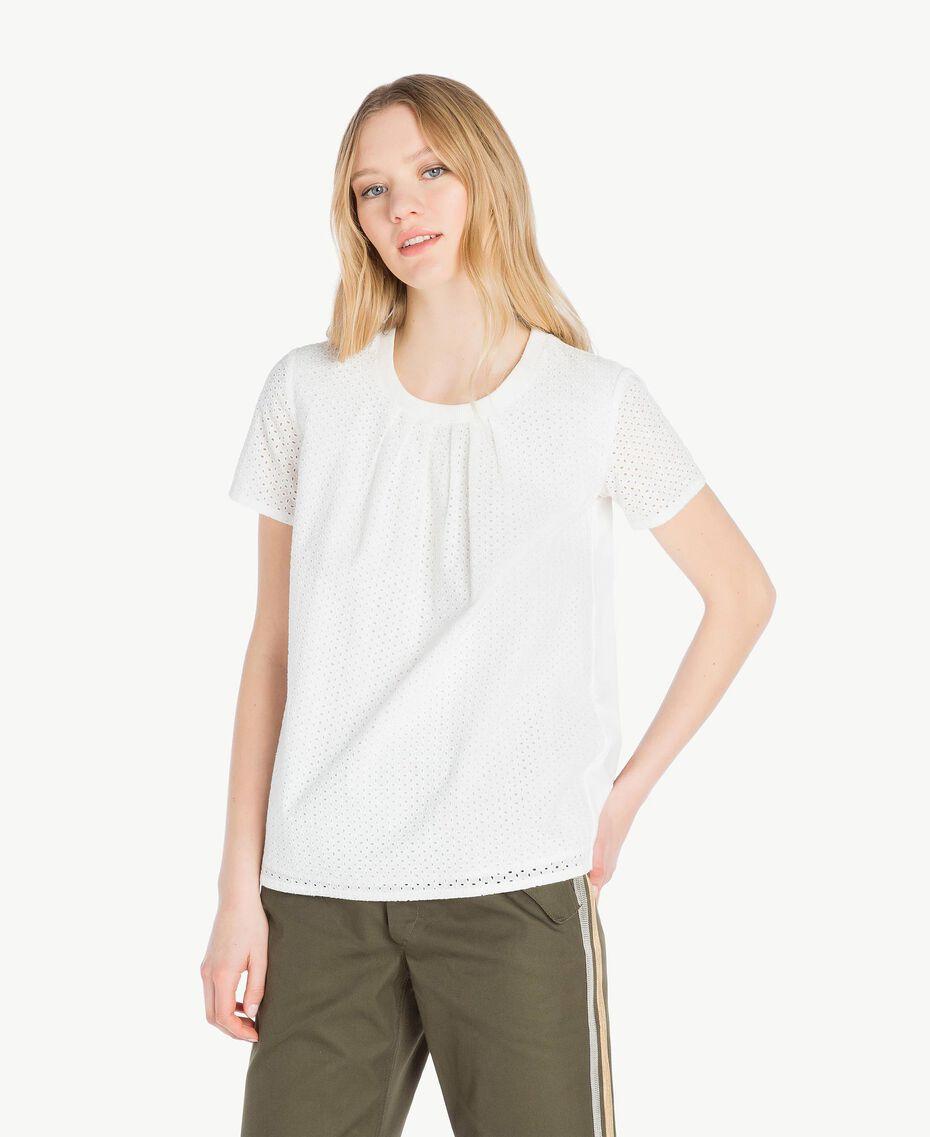 T-Shirt mit St. Galler Stickerei Weiß Frau YS82D1-01