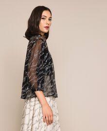Blouse en tulle avec logo brodé Noir Femme 201ST2043-02