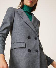 """Wool blend blazer Mottled Gray /""""Lurex"""" Silver Pin Stripe Woman 202TT2170-01"""