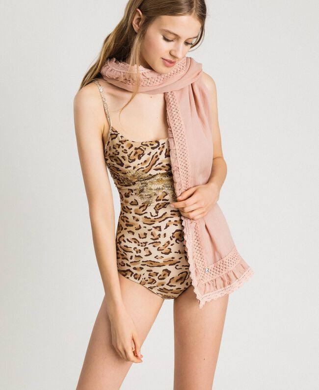 "Musselin-Schal aus Baumwolle ""Pink Bouquet"" Pink Frau 191LB4ZAA-0T"