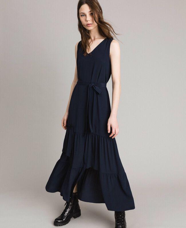Silk-mix long dress Deep Blue Woman 191TP2461-01