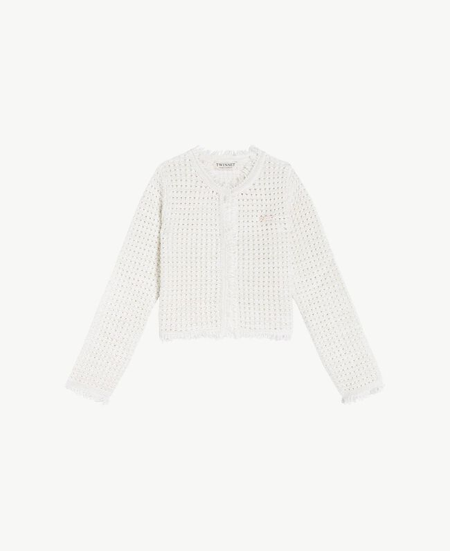 "Lurex jacket ""Papers"" White Child GS8LEA-01"