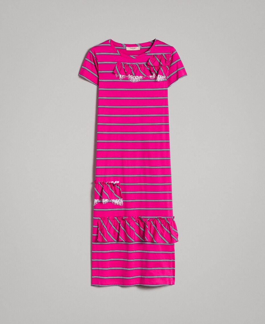 "Striped long dress with ruffle ""Electric Pink"" Fuchsia Striping Woman 191TP2281-0S"