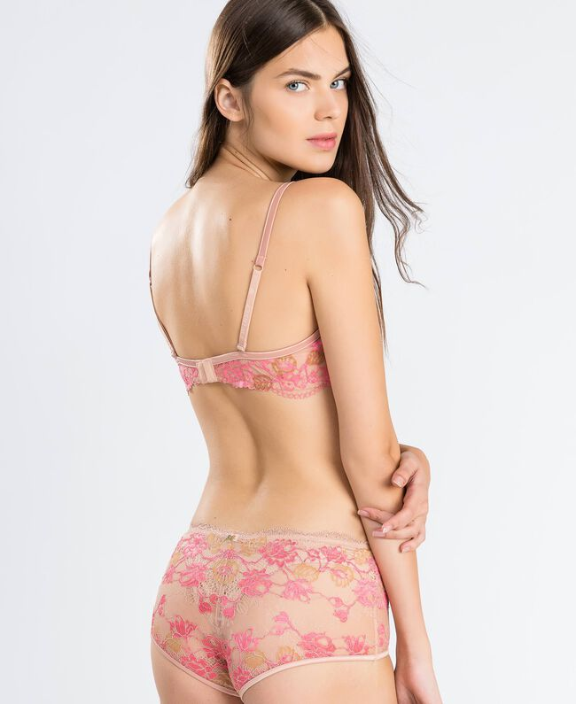 """Two-tone lace underwire bra (C cup) Bicolour Royal Pink / """"Amber Dust"""" Brown Woman IA8A5C-03"""