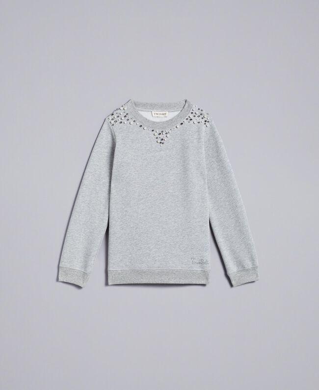 Felpa in cotone con perle e strass Grigio Mélange Chiaro Bambina GA82V1-01